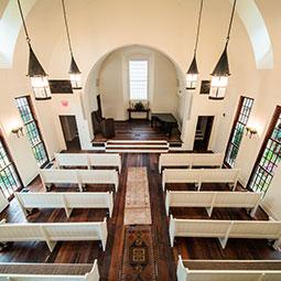 a small white chapel empty