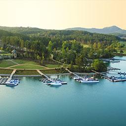 boats docked on Lake Keowee